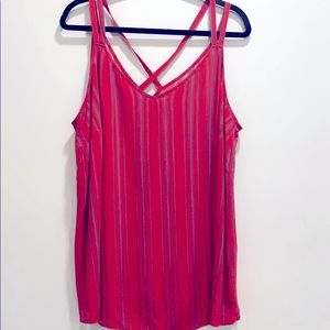 NWT Maurices strappy tank red & blue stripes 2x